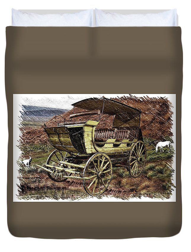 Abyss Pool Duvet Cover featuring the photograph Yellowstone Park Stage Coach With Horses Pa 01 by Thomas Woolworth