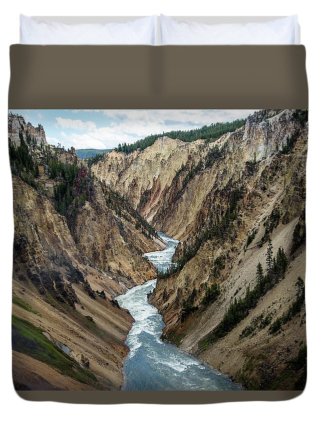 Canyon Duvet Cover featuring the photograph Yellowstone River Below Lower Falls by Frank Madia