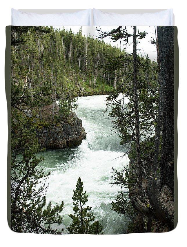 Yellowstone National Park Duvet Cover featuring the photograph Yellowstone Waterfall by Linda Kerkau