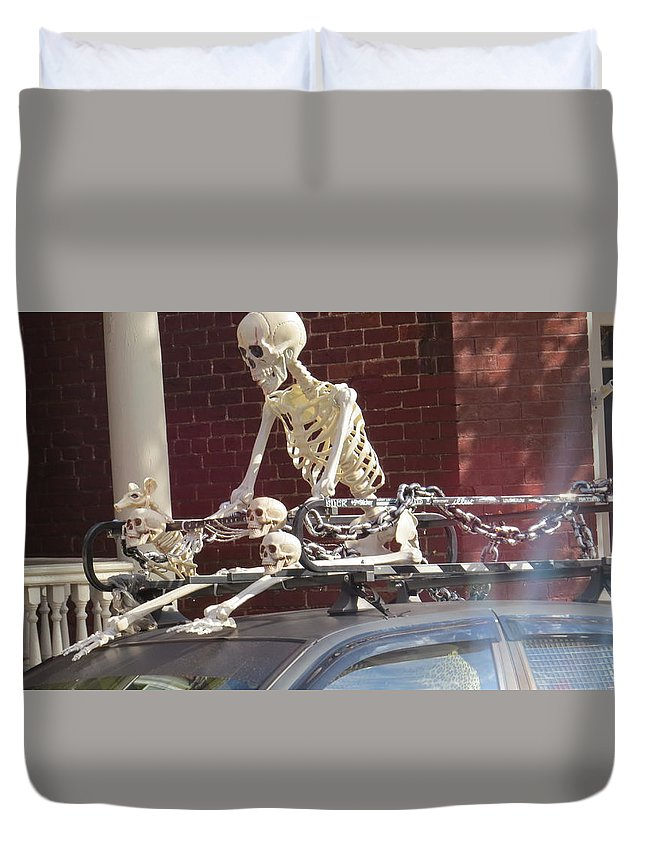 Skeleton Duvet Cover featuring the photograph Yes It Is Halloween by Jeanette Oberholtzer