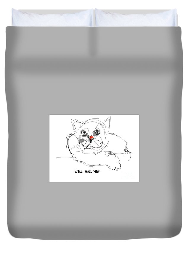 Funny Cats Duvet Cover featuring the digital art YES by Paul Miller