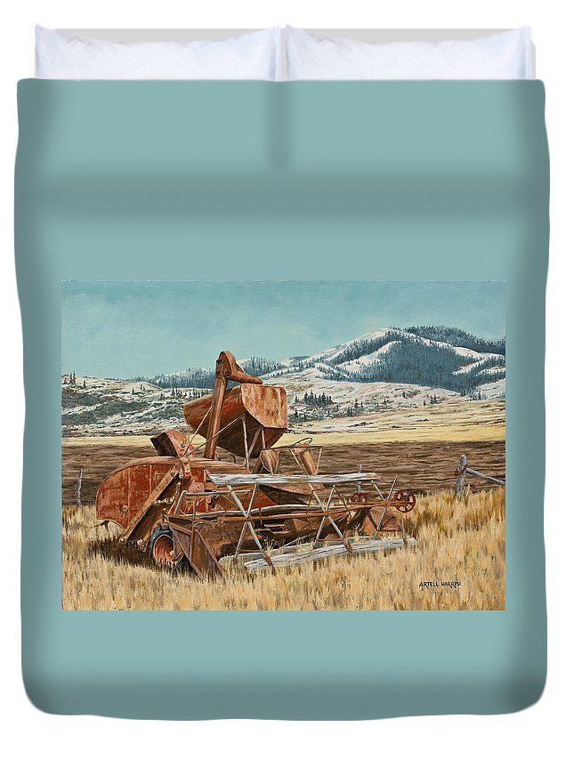Artell Duvet Cover featuring the painting Yesterday I Was Tired, Today I Am Retired. by Artell Harris