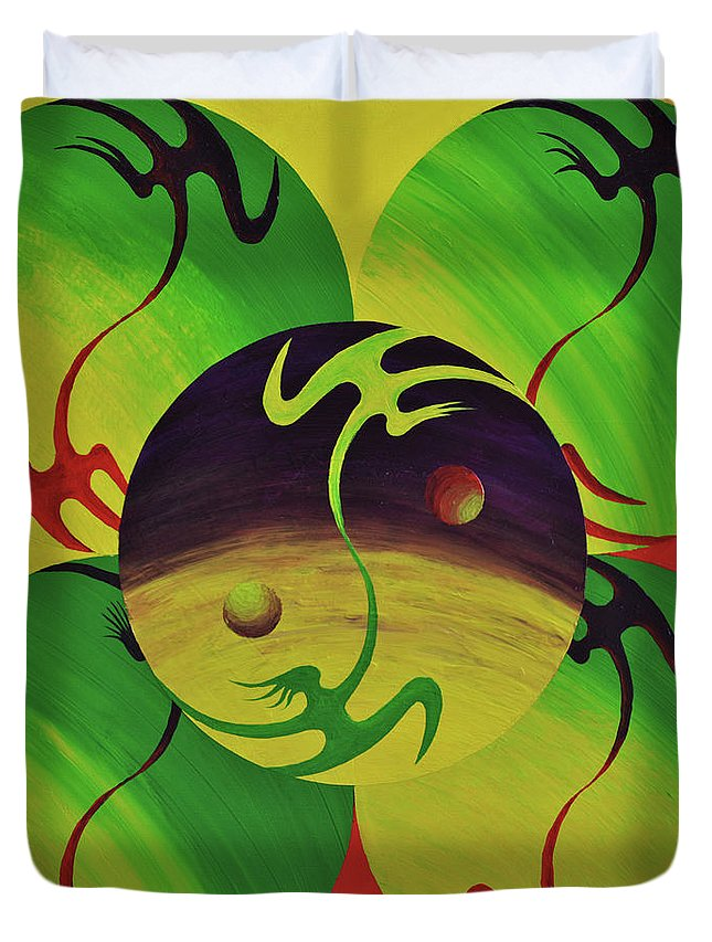 Yin Duvet Cover featuring the painting Yin And Yang by Martin Jimenez