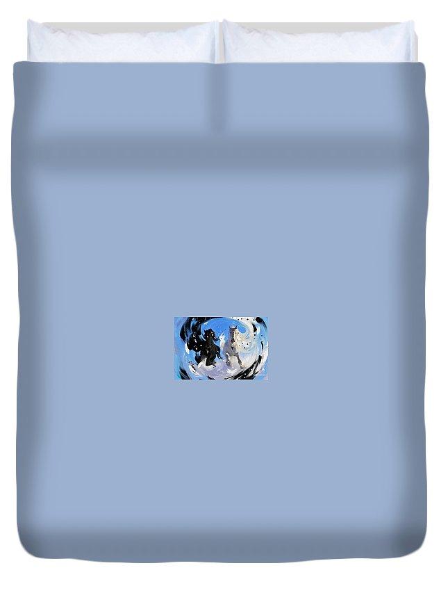 Yin Yang Duvet Cover featuring the digital art Yin Yang Horse by Alex Thomas