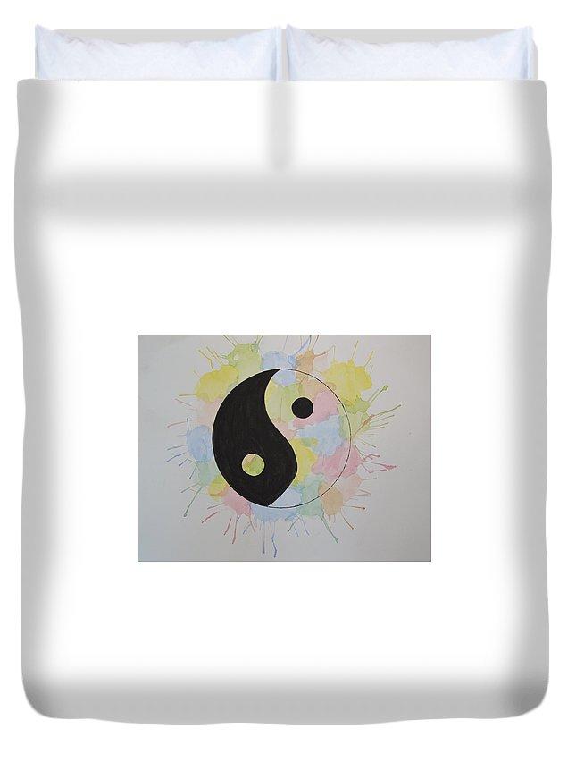 Yin Yang Watercolor Colorful Splatter Black White Duvet Cover featuring the painting Yin Yang by Kushagra Sharma