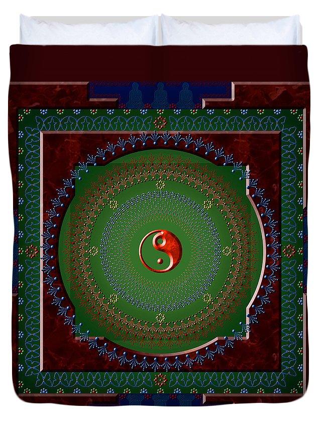 Mandala Duvet Cover featuring the digital art Yin Yang by Stephen Lucas