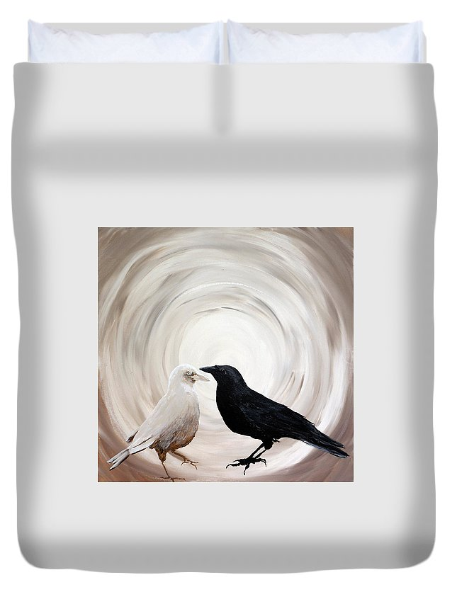 Crows Duvet Cover featuring the painting Yin Yang by Suni Moon