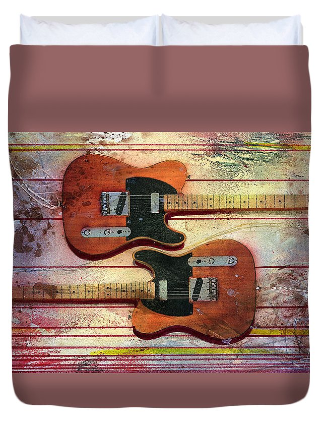 Guitar Duvet Cover featuring the painting Yin-Yang Teles by Andrew King