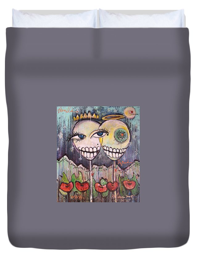 Skull Heads Duvet Cover featuring the painting Yo Soy La Luna by Laurie Maves ART