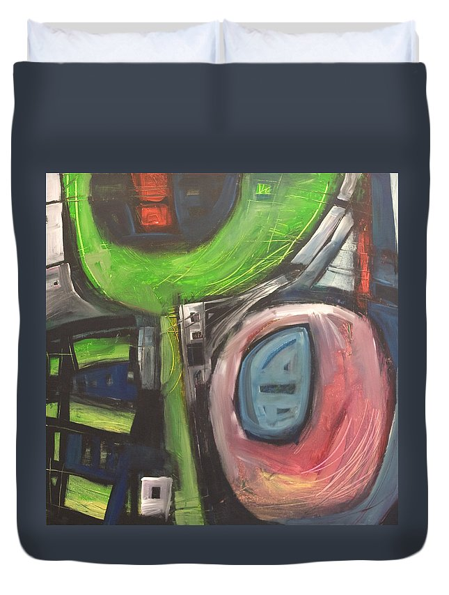 Abstract Duvet Cover featuring the painting YO by Tim Nyberg
