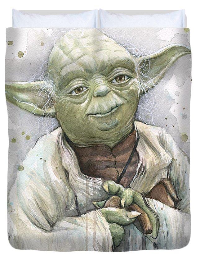 Yoda Duvet Cover featuring the painting Yoda by Olga Shvartsur