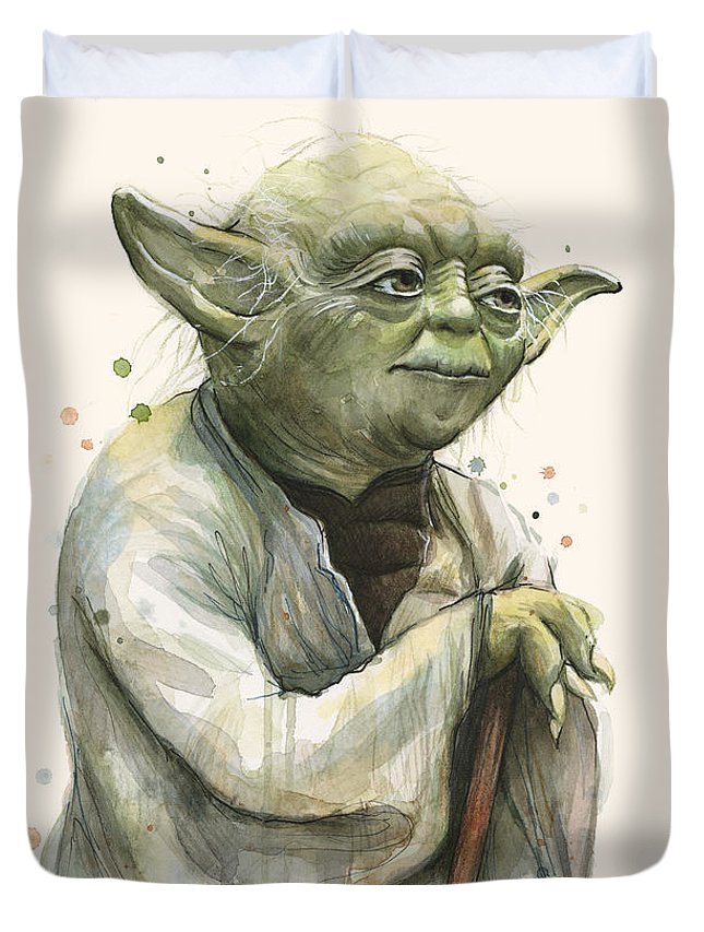 Yoda Duvet Cover featuring the painting Yoda Portrait by Olga Shvartsur