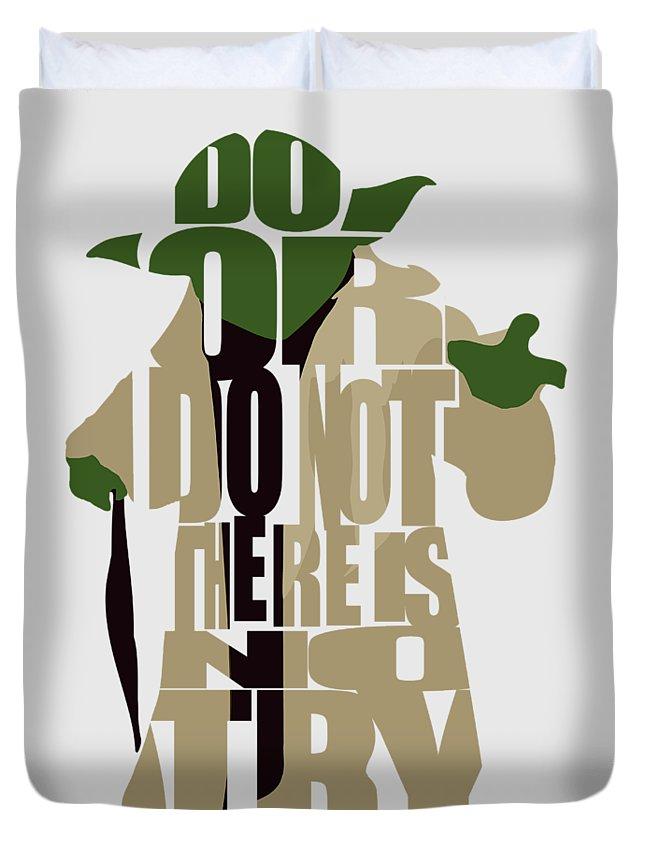 Yoda Duvet Cover featuring the digital art Yoda - Star Wars by Inspirowl Design