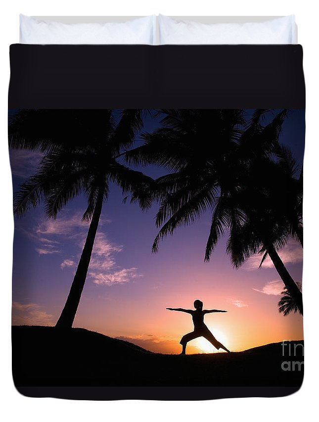 Air Duvet Cover featuring the photograph Yoga At Sunset by Ron Dahlquist - Printscapes