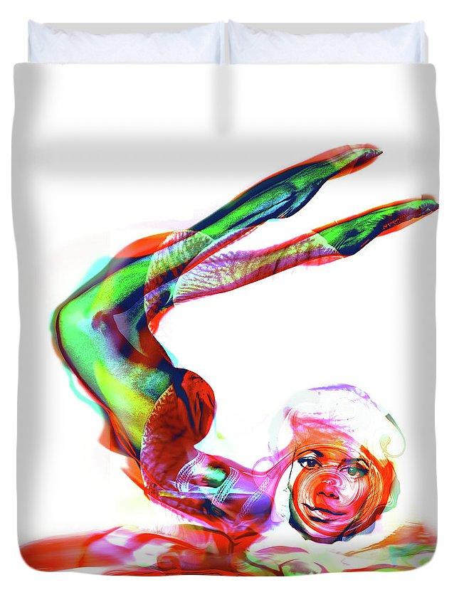 Curves Duvet Cover featuring the digital art Yoga by Haufi Ficoure