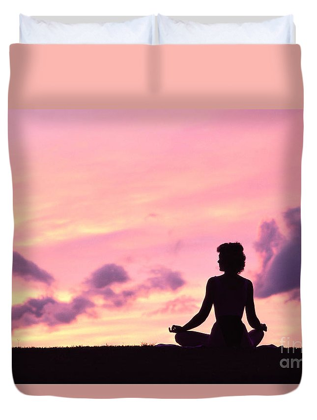 Active Duvet Cover featuring the photograph Yoga On Beach by Greg Vaughn - Printscapes