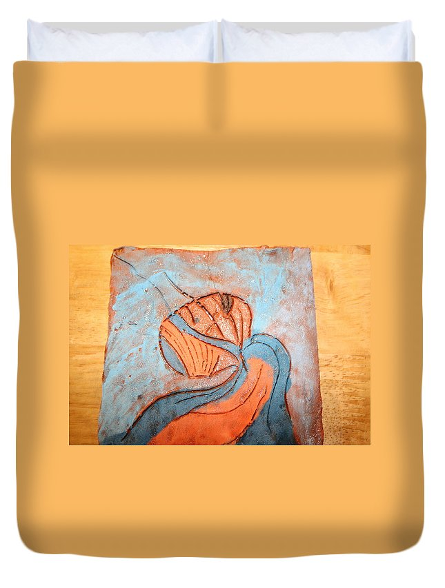Jesus Duvet Cover featuring the ceramic art Yogaic - Tile by Gloria Ssali