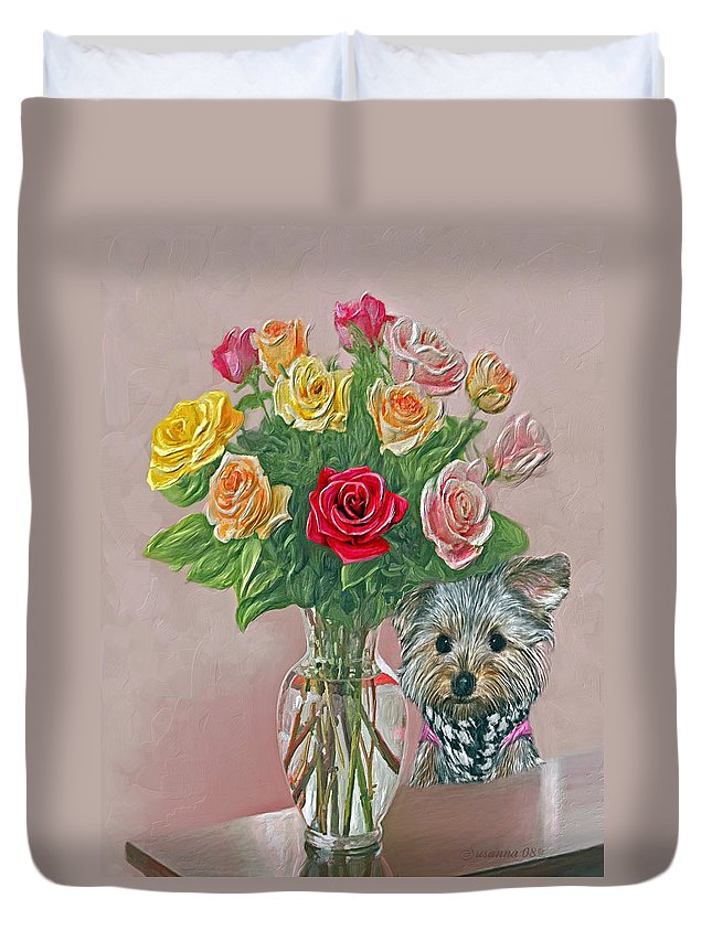 Roses Duvet Cover featuring the painting Yorkey Rose by Susanna Katherine