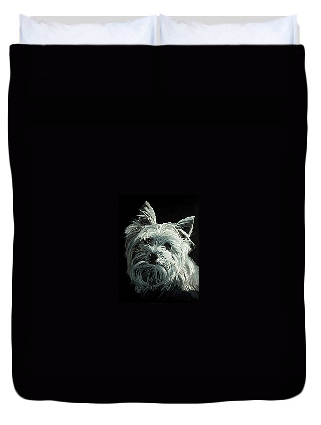 Animals Duvet Cover featuring the painting Yorkie by Portraits By NC