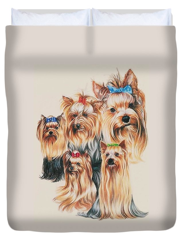 Purebred Duvet Cover featuring the drawing Yorkshire Terrier by Barbara Keith