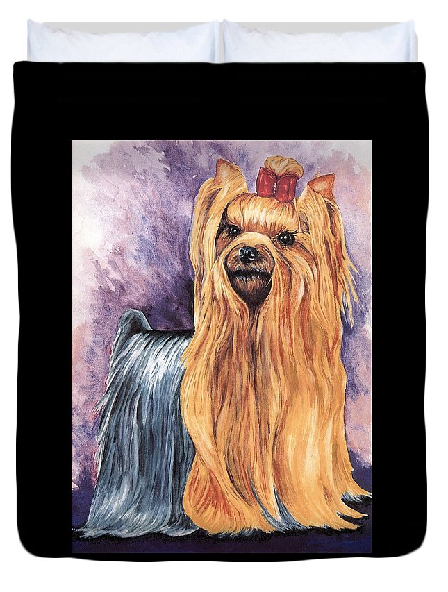 Yorkshire Terrier Duvet Cover featuring the painting Yorkshire Terrier by Kathleen Sepulveda