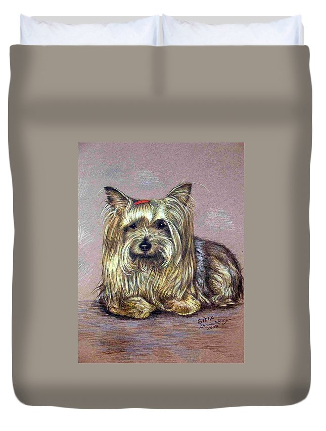 Dog Duvet Cover featuring the drawing Yorkshire Terrier by Nicole Zeug