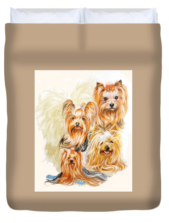 Toy Breed Duvet Cover featuring the mixed media Yorkshire Terrier W/ghost by Barbara Keith