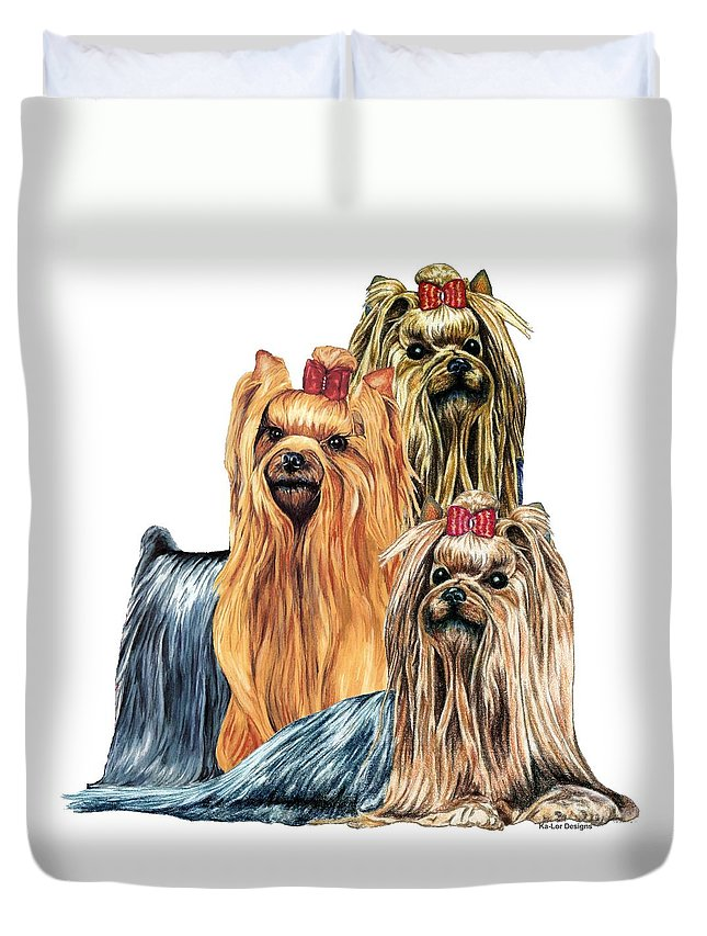 Yorkshire Terrier Duvet Cover featuring the drawing Yorkshire Terriers by Kathleen Sepulveda