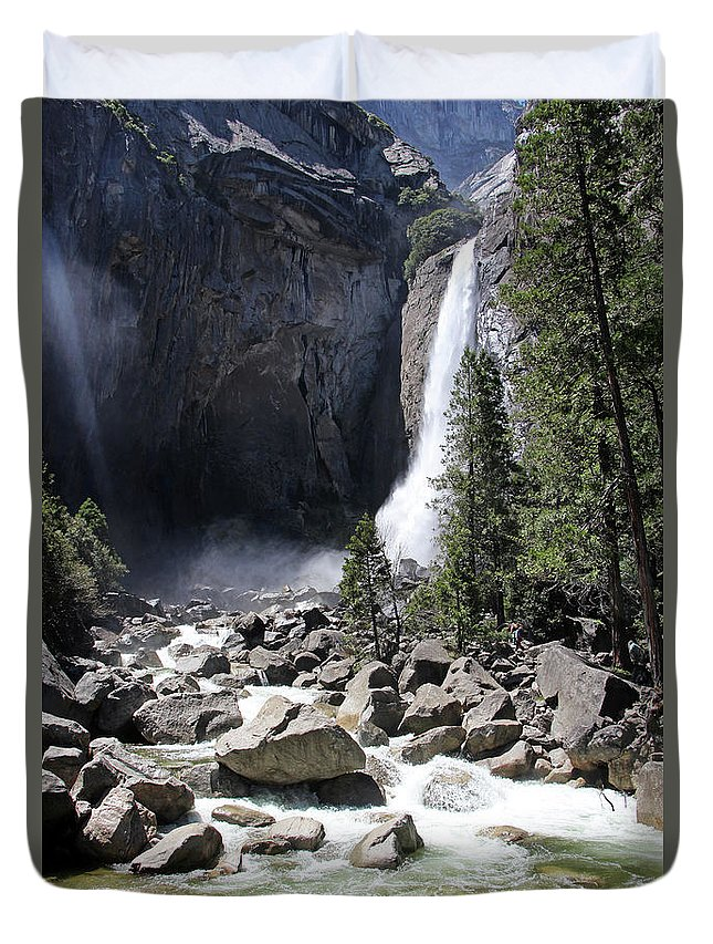 Yosemite Falls Duvet Cover featuring the photograph Yosemite Falls by Sierra Vance