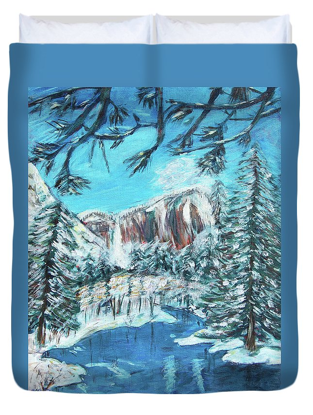 Yosemite Duvet Cover featuring the painting Yosemite In Winter by Carolyn Donnell