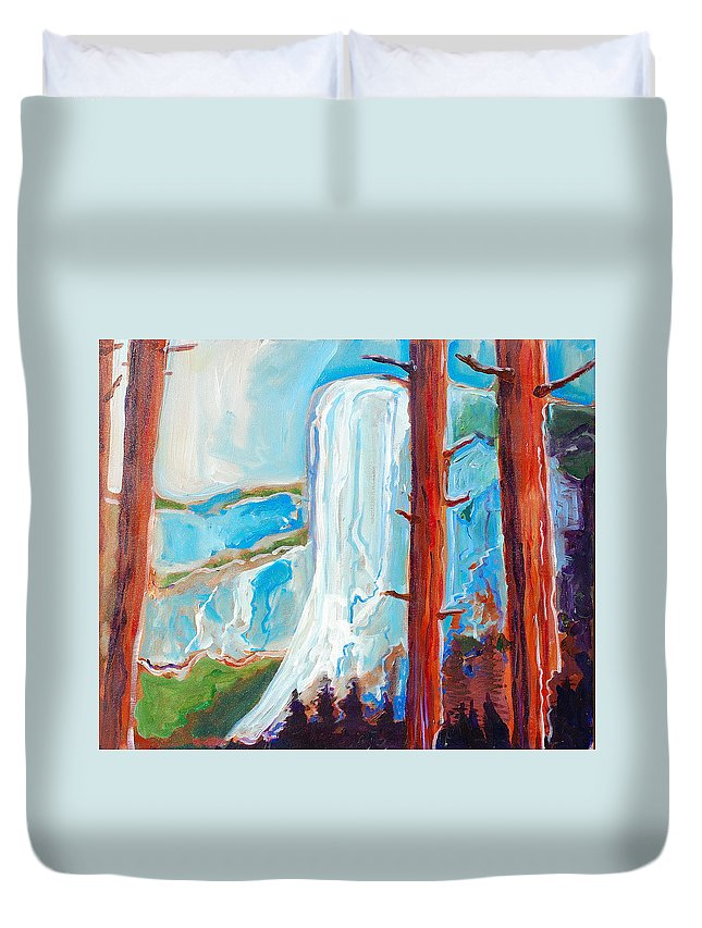 Duvet Cover featuring the painting Yosemite by Kurt Hausmann