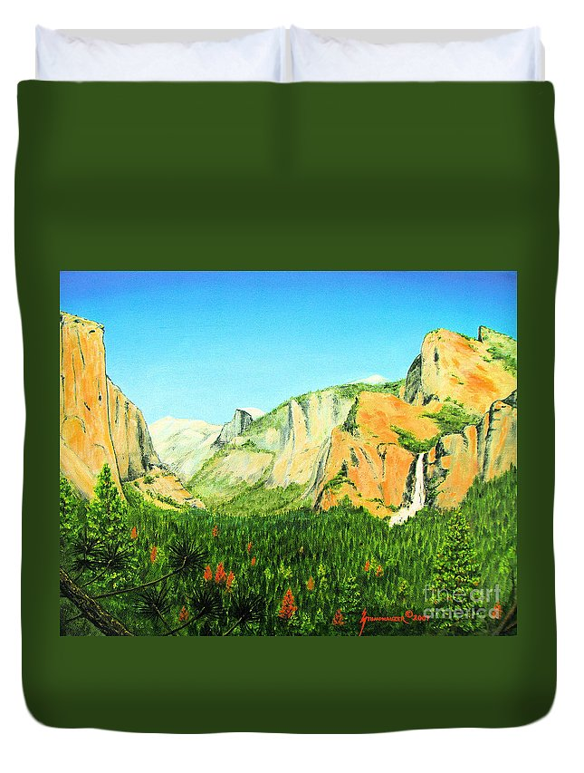 Yosemite National Park Duvet Cover featuring the painting Yosemite National Park by Jerome Stumphauzer