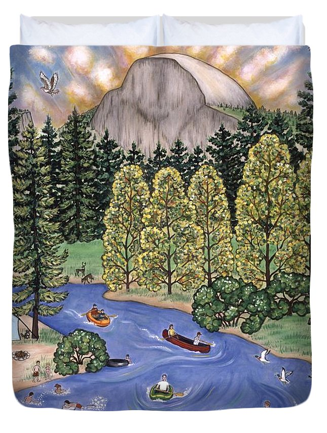 Folk Art Landscape Duvet Cover featuring the painting Yosemite National Park by Linda Mears