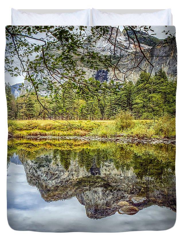Yosemite Duvet Cover featuring the photograph Yosemite Reflections Right by LeeAnn McLaneGoetz McLaneGoetzStudioLLCcom