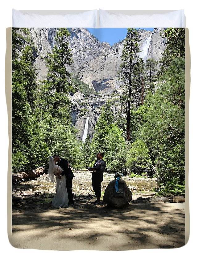 Duvet Cover featuring the painting Yosemite Wedding by Travis Day