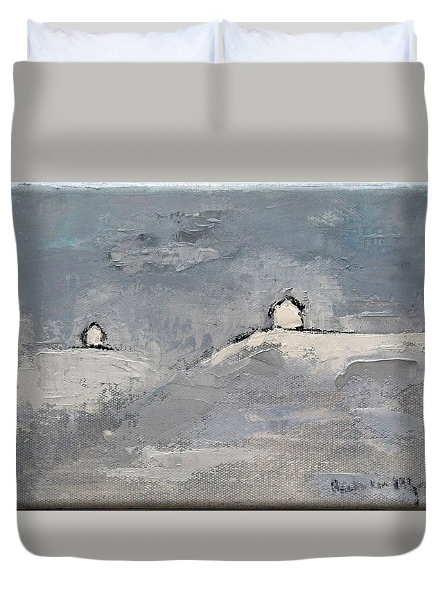 Oil Duvet Cover featuring the painting You And I by Becky Kim