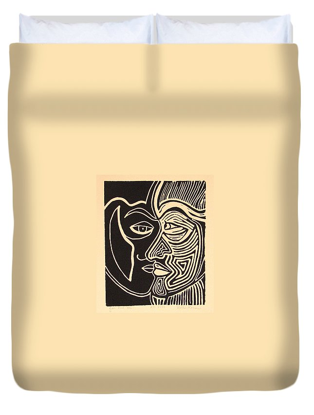 Faces Duvet Cover featuring the drawing You and Me by Rollin Kocsis