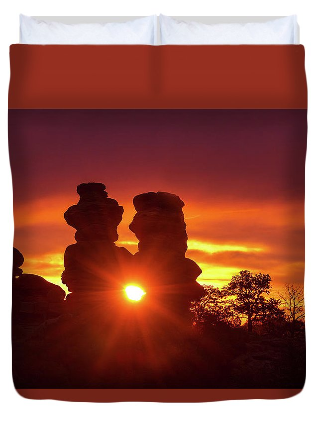 The Siamese Twins Rock Formation Duvet Cover featuring the photograph You Can Preach A Better Sermon With Your Life Than With Your Lips. by Bijan Pirnia
