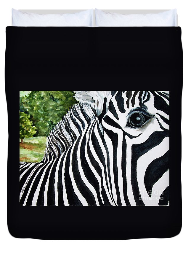 Zebra Duvet Cover featuring the painting You Can Run But You Can't Hide by Sally Storey Jones