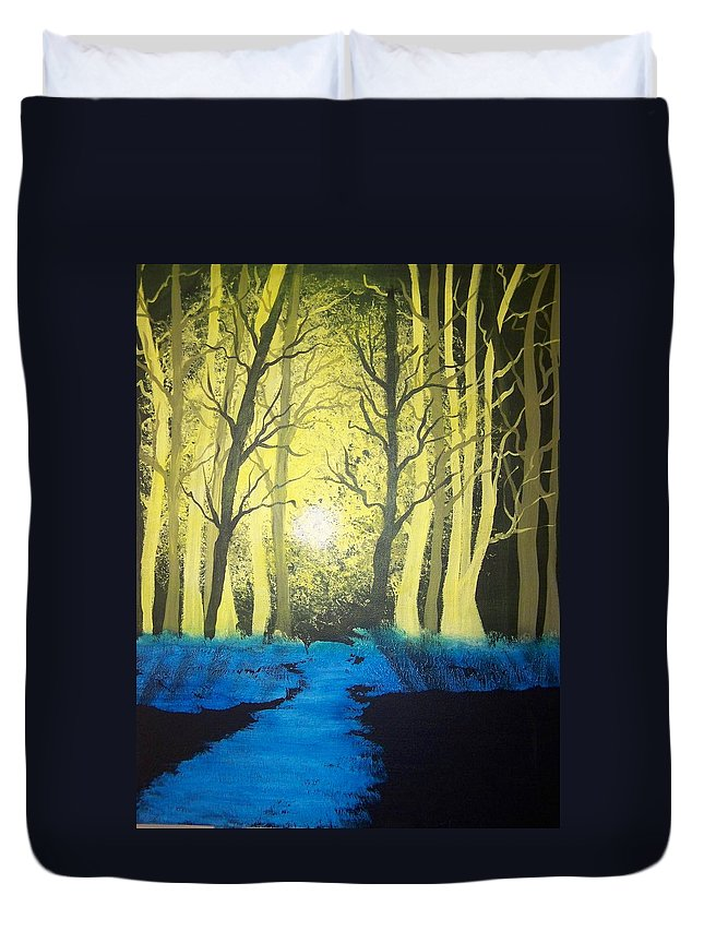 Forest Duvet Cover featuring the painting You Cant See The Forest For The Trees by Laurie Kidd