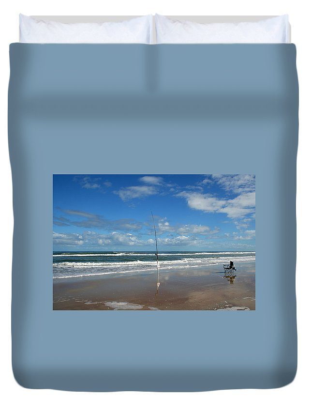 Fish Fishing Vacation Beach Surf Shore Rod Pole Chair Blue Sky Ocean Waves Wave Sun Sunny Bright Duvet Cover featuring the photograph You Could Have Been There by Andrei Shliakhau