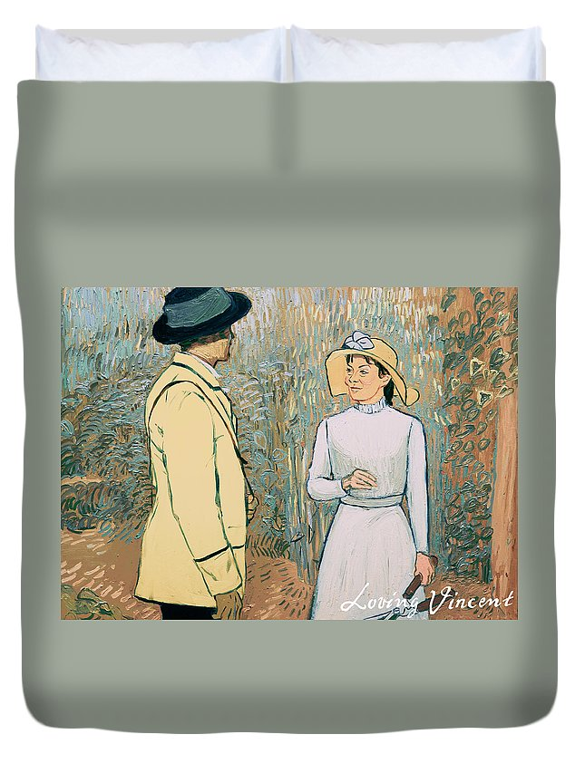Duvet Cover featuring the painting You Don't Want to Stay There by Olga Krolak