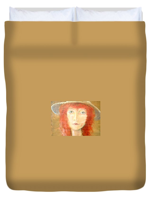 Woman Duvet Cover featuring the painting You found my hat by J Bauer