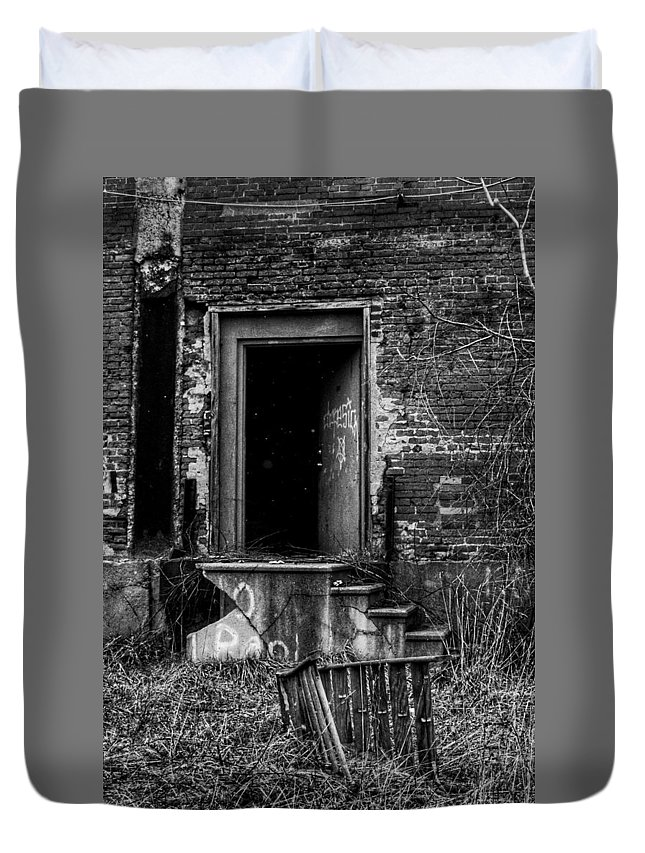 Black And White Duvet Cover featuring the photograph You Go First by Jeff Paul