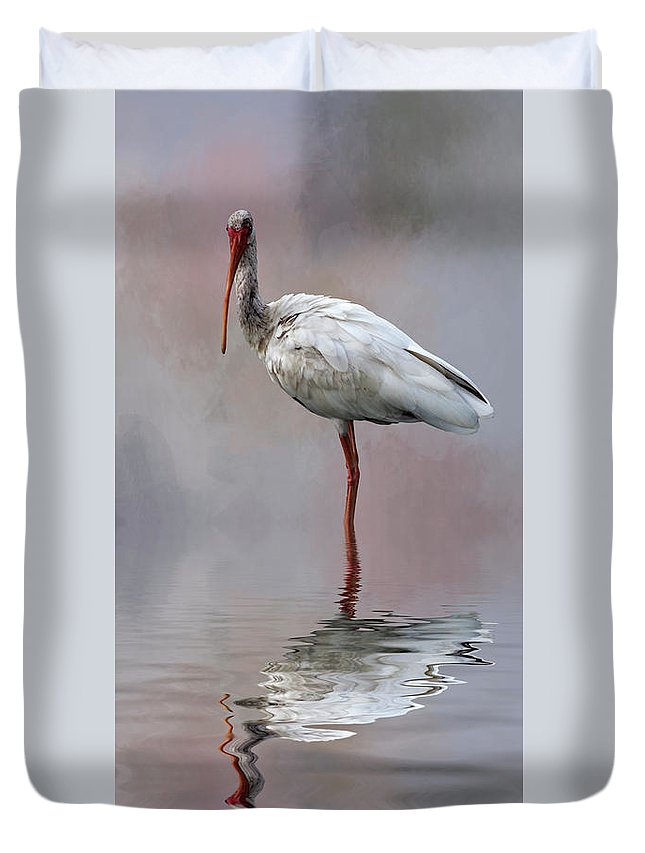 Ibis; Bird; Avian; White; Feathers; Texture; Background; Nature; Animal; Beak; Wild; Duvet Cover featuring the photograph You Lookin' At Me? by Cyndy Doty