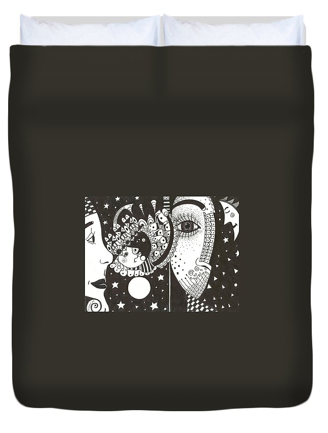 Ethereal Duvet Cover featuring the drawing You Me The Stars And The Moon by Helena Tiainen
