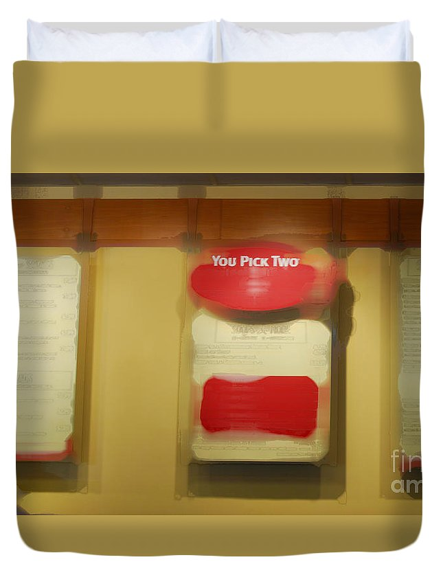 Restaurant Duvet Cover featuring the photograph You Pick Two by Paulette B Wright