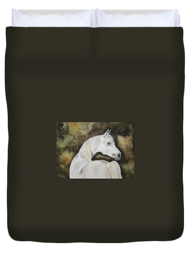 Horse Duvet Cover featuring the painting You Talking To Me by Jean Blackmer