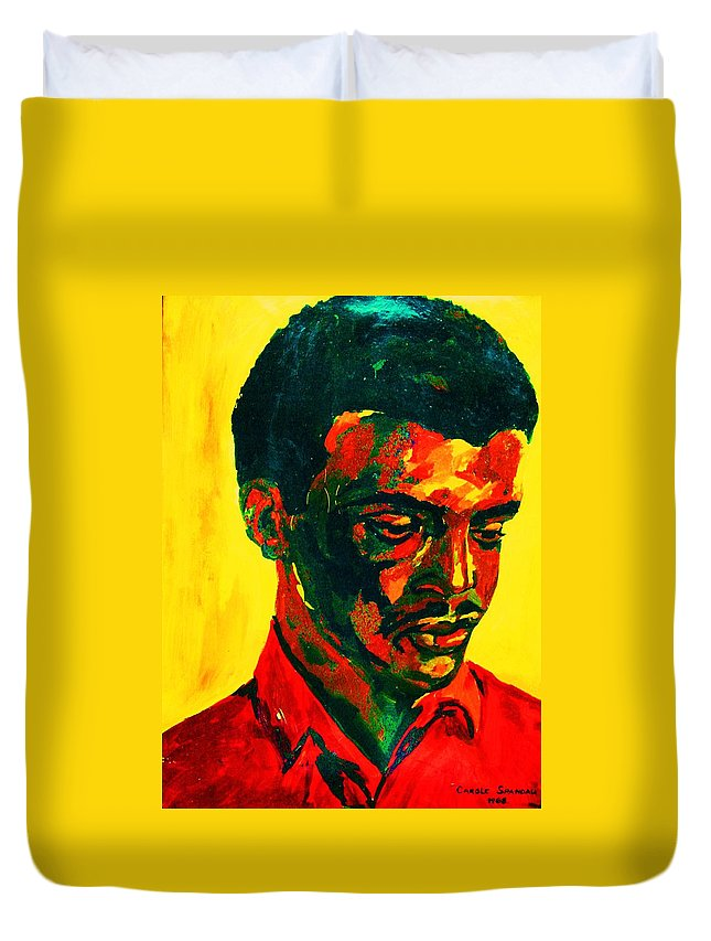 Africa Duvet Cover featuring the painting Young African Man by Carole Spandau