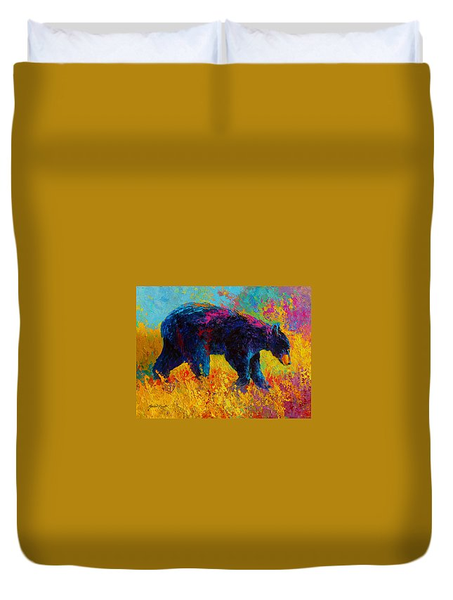 Bear Duvet Cover featuring the painting Young And Restless - Black Bear by Marion Rose
